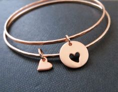 Rose gold mother daughter bracelets,  set of 2 bangles for mom and daughter, gift for her
