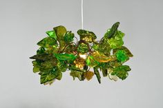Ceiling Light fixture with green flowers and leaves - pendant light for rooms, bedroom, bathroom Ceiling Chandelier, Ceiling Light Fixtures, Ceiling Lights, Chandeliers, Forest Room, Forest Theme, Flush Lighting, Resin Flowers, Leaf Pendant