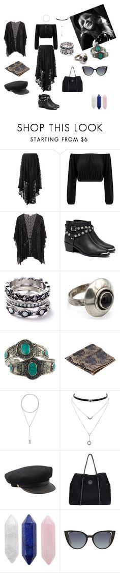 """""""Stevie Nicks inspired"""" by hxcpunkbum on Polyvore featuring Spell, Senso, WithChic, Rock 'N Rose, W. Britt, Jessica Simpson, Roxy and Fendi"""