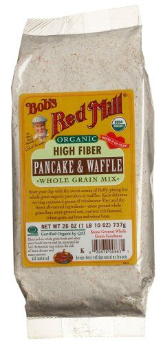 Bob's Red Mill Organic High Fiber Pancake Waffle, Whole Grain Mix. Add cinnamon and this is Saturday morning breakfast! Cornmeal Pancakes, Pancakes And Waffles, Gourmet Recipes, Snack Recipes, Snacks, Buckwheat Pancake Mix, Waffle Mix, Bobs Red Mill, International Recipes