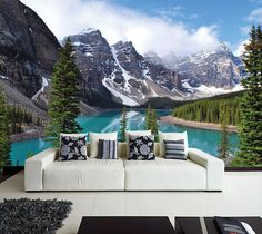 Stunning mural of a lake in the mountain! Our products combine the high-quality and photo quality print for breathtakingly realistic
