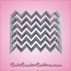 Our Multi-Chevron cookie cutters are 4 inches tall, 5 inches wide, and are made of gray plastic with the ends left open for endless multi-chevron decorating. Cl