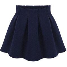 Choies Navy Blue Pleated Mini Skirt ($17) ❤ liked on Polyvore