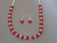 Red Lampwork Hearts Necklace and Earrings Sterling by jazzybeads
