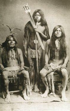 Three Quechan Tribe Native Americans, circa 1900 - Vintage Photo Print, Ready to Frame!