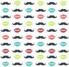 his and her's moustache and lips #pattern #mustache