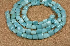 Teal Amazonite Square Beads  Smooth Side Drilled by ABOSBeads, $6.99