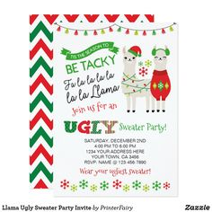 Shop Llama Ugly Sweater Party Invite created by PrinterFairy. Personalize it with photos & text or purchase as is! Christmas Photo Props, Christmas Photos, Christmas Ideas, Santa Christmas, Christmas Decorations, Christmas Party Invitations, Birthday Invitations, Cute Christmas Sweater, Ugly Sweater Party