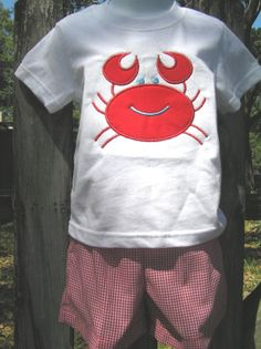 Boys Crab Short Set by juliesonny on Etsy, $40.00  For Jacob at the rehearsal dinner