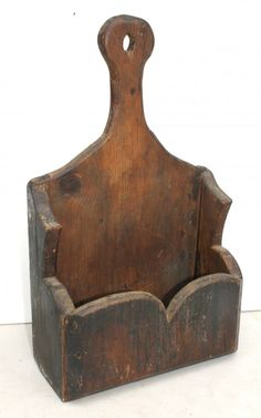Great form ca 1820 New England pine wall box w lol