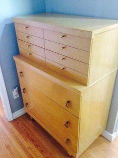Mid Century Modern Tallboy 4 Drawers Dresser By L B