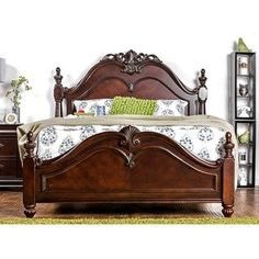 Furniture of America Bastillina English Style Cherry Four Post Bed (California King), Brown Wood Bed Design, Bedroom Posters, Wooden Bedroom Furniture, Bedroom Set, Furniture, Bed, Furniture Of America, Poster Bed, Bed Furniture