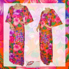 Vintage 60s Hawaiian Floral Dress // 1960s Muu Muu Bright Neon Colors Ladies Size L 12