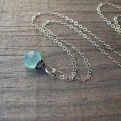 Buy Sterling and Aqua Chalcedony Necklace, Layering Necklace, Wire Wrapped, Chalcedony by Studio B, Jewelry & Gifts on OpenSky