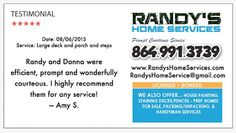 Randy's Home Services: Testimonial August 6, 2015