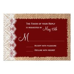 Rustic Country Burlap Lace Red Wedding RSVP 3.5x5 Paper Invitation Card