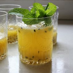 Passionfruit and mint fizz (cocktail) - fresh ginger, mint and passion ...