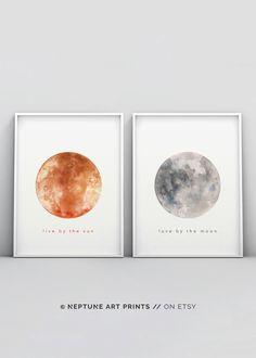 Live by the Sun Love by the Moon, Set of Two Printable, Watercolour Print, Above Bed Decor, Sun and Art Above Bed, Above Bed Decor, Wall Art Prints, Poster Prints, Framed Prints, Moon Setting, Kanazawa, Moon Print, Poster Making