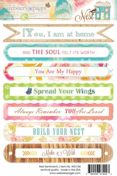 Websters Pages - Nest Collection - Cardstock Stickers - Sentiments at Scrapbook.com