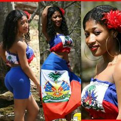 Show of your flag during Haitian heritage and Haitian flag day. Haitian Flag, Haitian Art, Jamaica Culture, Haiti History, Jamaica Outfits, Carnival Outfits, Coloured Girls, Island Girl, Beautiful Black Women