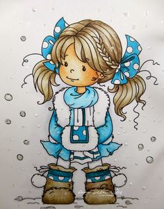 Coloration with Copics: Skin: E93, E11, E00, E0000 Hair: E 49, E 47, E 43, E42, E 40, Coat: BG09, BG 07, BG05, BG000 Boots: E47, E43, E40 Shadow: C3, C1, C0 Copic markers Germany Blog: Wintry designed book card