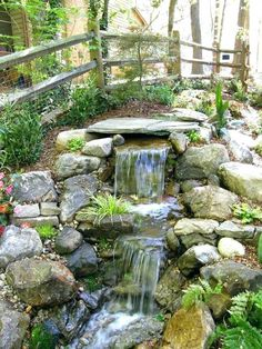 small pond design small pond waterfall simple backyard ideas on cool for garden and design ponds waterfalls weir small pond landscaping pictures Outdoor Waterfalls, Beautiful Waterfalls, Backyard, Landscape, Outdoor Decor, Tips, Ideas, Design, Home Decor