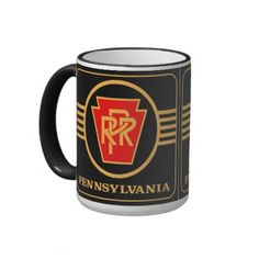 Pennsylvania Railroad Logo, Black & Gold Coffee Mug  $21.20 - The Pennsylvania Railroad was the largest railroad by traffic and revenue in the US throughout its 20th-century existence