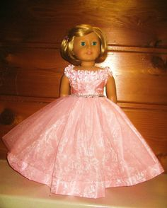 American Girl Dolls : Pink off the shoulder princess dress American Girl Doll Shoes, American Girl Dress, American Doll Clothes, Girl Doll Clothes, Girl Dolls, Ag Dolls, Doll Dress Patterns, Clothes Patterns, Sewing Patterns