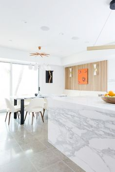 Before and After: You Won't Believe This Modern Marble Kitchen Transformation via @MyDomaine