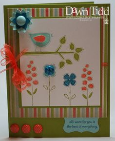Card by Dawn Tidd - I love how she has used the SAB paper in the background but has incorporated the colours into the stamped image so well
