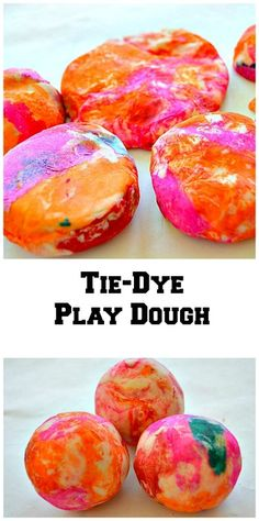 Let the kids have fun coloring their play dough with paper! Create a tie-dye look. Unlike the previous pin this time all the fun is on the outside.. #playdough