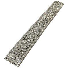 1925 French Art Deco Diamond Platinum Bracelet | From a unique collection of vintage more bracelets at https://www.1stdibs.com/jewelry/bracelets/more-bracelets/