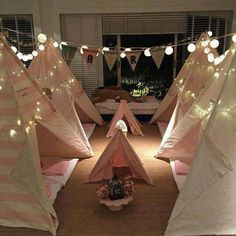 Sleepover birthday party for girls. Teepee