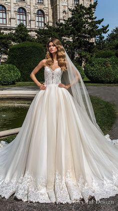 crystal design 2018 strapless sweetheart neckline heavily embellished bodice romantic princess ball gown wedding dress rasor lace back chapel train (emma) mv #weddinggowns