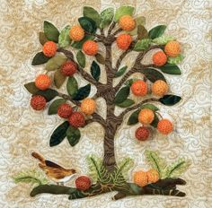 """Fruit Tree"" from The Art of Elegant Hand Embroidery, Embellishment and Applique by Janice Vaine. I love, love, love this orange tree beading pattern! It has embroidery stitches, beading stitches, and applique techniques, and is only 4 inches high! The little birdie is so darling... Find it online: http://landauerpub.com/The-Art-of-Elegant-Hand-Embroidery-Embellishment-and-Applique.html"