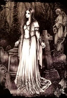 Born Valencia, Spain, Victoria Frances cites as her influence the art of Luis Royo and Brom and the writing of Edgar Alan Poe, Anne Rice . Vampire Girls, Vampire Art, Arte Horror, Horror Art, Gothic Wallpaper, Gothic Fantasy Art, Creepy Photos, Beautiful Dark Art, Gothic Aesthetic