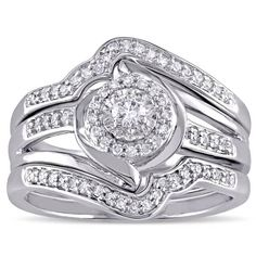 Miadora Sterling Silver 1/3ct TDW Diamond Bypass Halo Bridal Ring Set