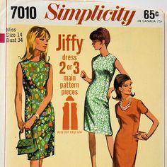 Simplicity 7010 Jiffy Dress Sewing Pattern Vintage 1960s Dress Miss Size 14 Copyright 1967 Retro Simple-to-sew #sewing #pattern #etsy  #gotvintage #antikcorner
