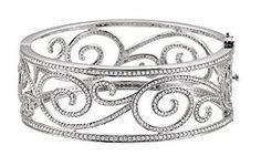 White 5 CTW Diamond Bangle Bracelet online only Pearl Diamond, Diamond Bracelets, Diamond Jewelry, Bangle Bracelets, Bangles, White Gold Diamonds, Round Diamonds, Bands Make Her Dance, Jewelry Design