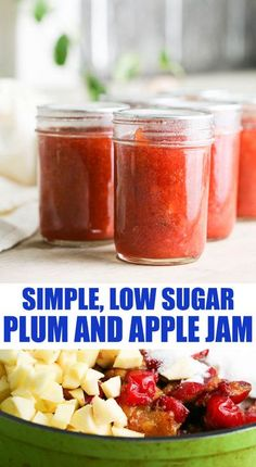 Super easy to make plum and apple jam. Low sugar and no store bought pectin!  #plumandapplejam #plumrecipes #applerecipes #lowsugarjam Plum Recipes, Jelly Recipes, Apple Recipes, Great Recipes, Favorite Recipes, Easy Canning, Lemon Seeds, Canning Vegetables, Apple Jam