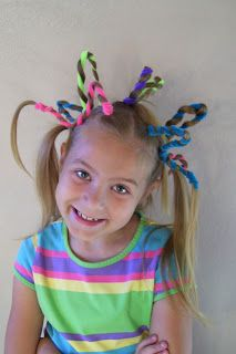 Thinking we are going to try this one for Crazy Hair Day on Friday! Thinking we are going to try thi Crazy Hair For Kids, Crazy Hair Day At School, Crazy Hair Days, Crazy Day, Cute Hairstyles For Short Hair, Girl Hairstyles, Curly Hair Styles, Holiday Hairstyles, Whoville Hair