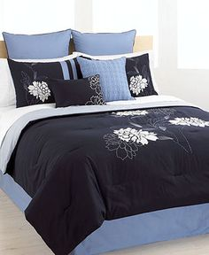Floral Zest 8 Piece California King Embroidered Comforter Set - Bed in a Bag - Bed & Bath - Macy's