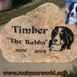 engraved dog portrait stone
