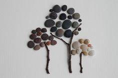 Three trees, Pebble Art of Nova Scotia by Sharon Nowlan. $120.00, via Etsy.