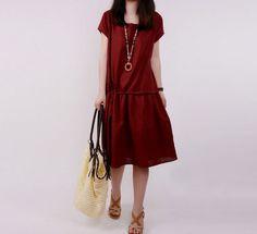 Women wine red cotton linen dress short sleeve by seasons2000