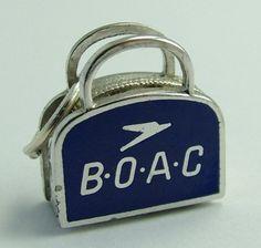 American Sterling Silver & Enamel Airline Bag Charm