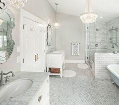 Stunning Herringbone Floor home interior design Traditional Bathroom Salt Lake City Carrara Marble Bathroom, White Marble Bathrooms, Marble Showers, Marble Mosaic, Mosaic Tiles, Glass Showers, Bathroom Tile Designs, Bathroom Floor Tiles, Bathroom Interior Design