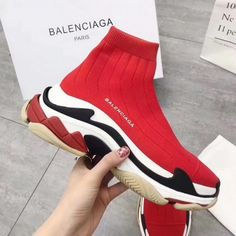 uk availability 5deab 42eba Balenciaga Speed Knit Trainers Triple S Face Red Popular Sneakers, Popular  Shoes, Sneakers For