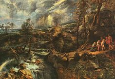 Stormy Landscape, approx. oil on panel, Art His - (Peter Paul Rubens)