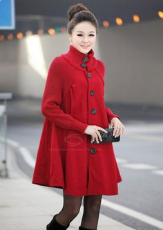 8f86d17c980621 Dressthat New Arrival Long Sleeves Mantle Type Knitted Jacket Red  Black   Gray Women s Coat